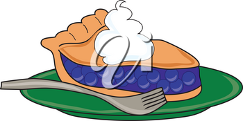 Clip Art Illustration of a Piece of Blueberry Pie With Ice Cream