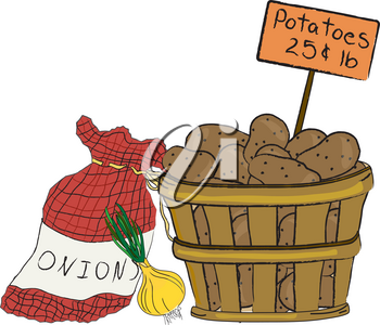Clip Art Illustration of a Basket of Potatoes and a Bag of Onions