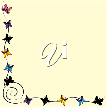 Clip Art Illustration of a Butterfly Page Border
