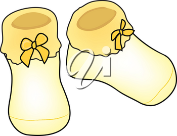 Clip Art Illustration of Yellow Knitted Baby Booties