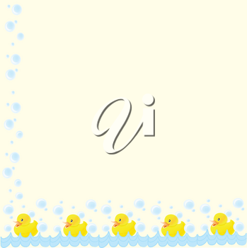 Clip Art Illustration of a Baby Duck Swimming With Bubbles Page Border