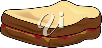 Clip Art Illustration of a Peanut Butter and Jelly Sandwich