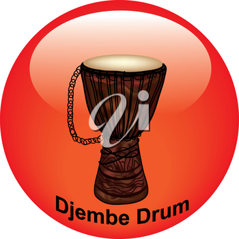 Clip Art Illustration of a Music Icon Button-Djembe Drum