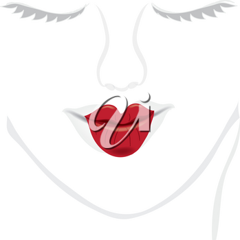 Clip Art Illustration of the Outline of a Geisha's Face and Lips