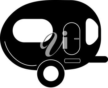 Clip Art Illustration of a Camp Trailer Silhouette Icon