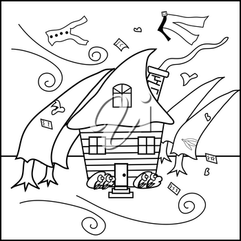 Clip Art Illustration of a House in a Hurricane Coloring Page