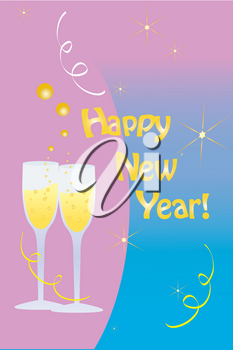 Clip Art Illustration of a Happy New Year Message With Champagne