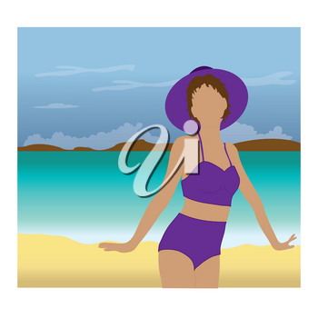 Clip Art Illustration of a Woman Standing on a Tropical Beach