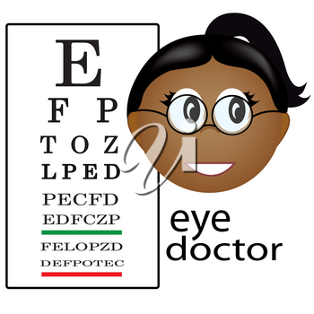 Clip Art Illustration of a Female Eye Doctor Occupation Icon-Ethnic