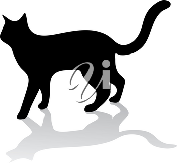 Clipart Illustration of a Silhouette of a Cat