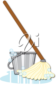 Clipart Illustration of a Soapy Mop and Bucket