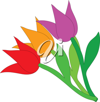 Clipart Illustration of a Bunch of Tulips