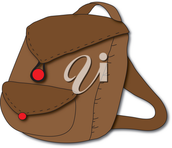 Clipart Illustration of a Brown Backpack