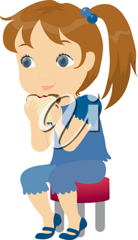 Royalty Free Clipart Illustration of a Little Girl Eating a Sandwich
