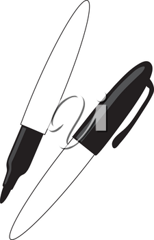 Royalty Free Clipart Illustration of Black Permanent Markers