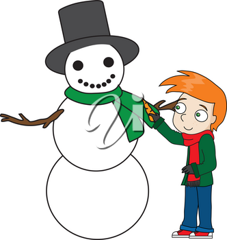 Royalty Free Clipart Illustration of a Little Boy Decorating a Snowman