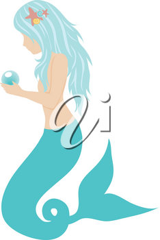 Royalty Free Clipart Illustration of a Mermaid Holding a Blue Pearl