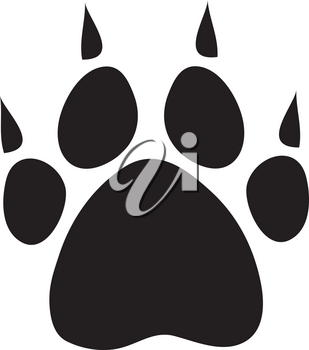 Clipart Illustration of a Dog Paw Print With Claws