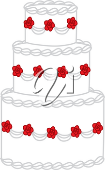 Clipart Illustration of a Wedding Cake
