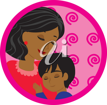 Clipart Illustration of a Mother and Her Son
