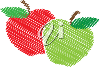 Clipart Illustration of Apples - Red Apple and Green Apple