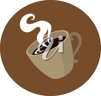 Clip Art Illustration Of A Steaming Hot Cup Of Coffee