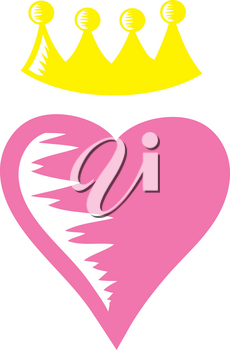 Clip Art Illustration Of A Heart Wearing A Crown