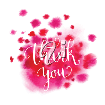 Watercolor thank you hand lettering. Splash background