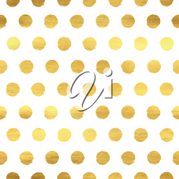 Seamless pattern with golden polka dots