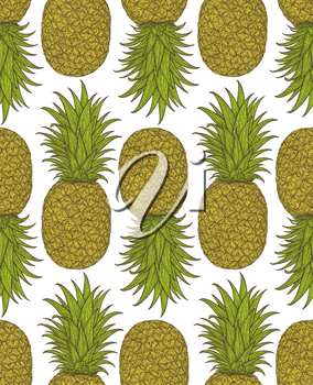 Hand drawn pattern with decorative pineapple. Stylized colorful fruit. Summer spring background, nature collection. Vector illustration