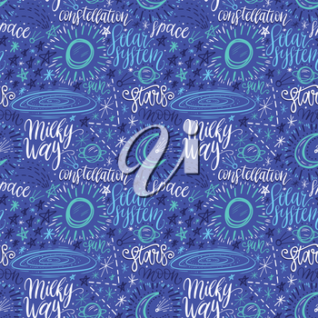 Space astronomy cute cartoon hand drawn seamless pattern. Decorative hand lettering. Vector illustration