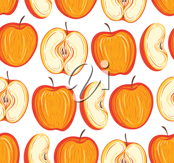 Stylized apples seamless pattern. Hand drawn decorative background with colorful fruits. Vector illustration