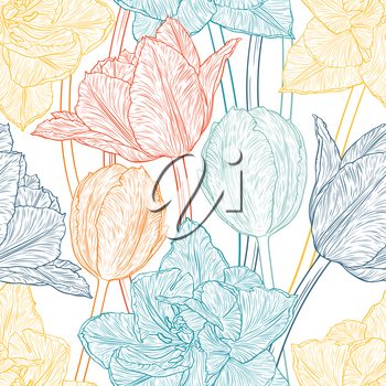 Hand drawn vector illustration Seamless pattern with decorative doodle tulips hand drawn in lines. Vector illustration
