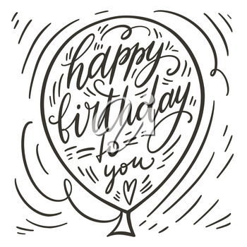 Happy birthday doodle hand lettering. Romantic background. Greeting card design template. Can be used for website background, poster, printing, banner. Vector illustration