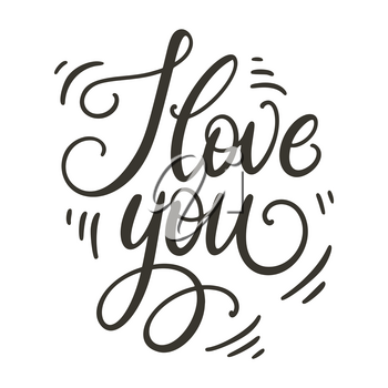 I love you doodle hand lettering. Romantic background. Greeting card design template. Can be used for website background, poster, printing, banner. Vector illustration