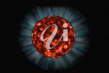 Unknown fiery planet on a dark  background in space