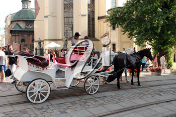 promenade coach with two harnessed horses running in Lvov