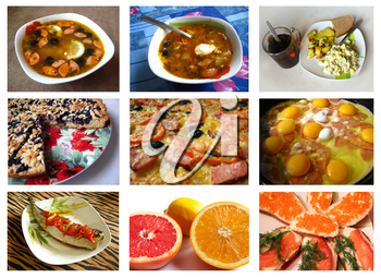 Collage from photos of various dishes for restaurant