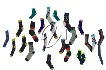 many colored socks isolated on the white background
