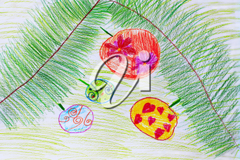childish drawing of green branches of fir-tree with round Christmas-tree decorations