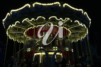 beautiful carousel in the New Year holidays in Chernihiv in the night
