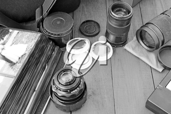 photographic lens photofilters and other photo accessories in black and white colors