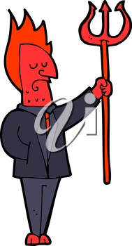Royalty Free Clipart Image of a Devil with Pitchfork