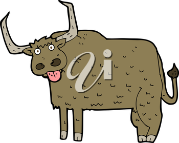 Royalty Free Clipart Image of a Hairy Cow