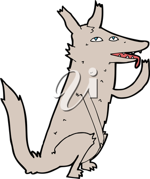 Royalty Free Clipart Image of a Wolf Licking Paw