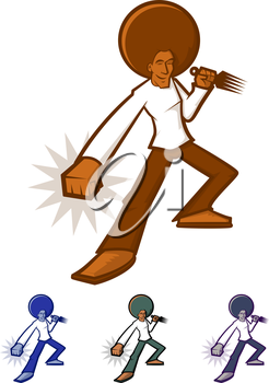 Action character with a giant afro
