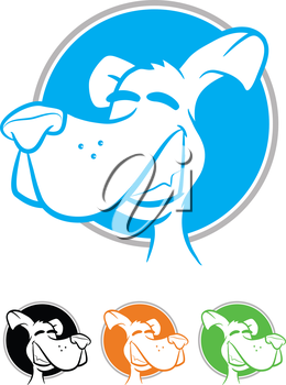 Illustration of a smiling dog on a circular background in various colors