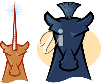 Illustrations of horse and unicorn heads