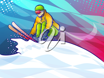 Colorful illustration of a skiier making a snowy jump