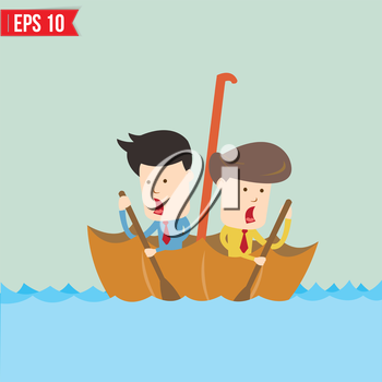 Cartoon business man  rowing a boat in his Umbrella